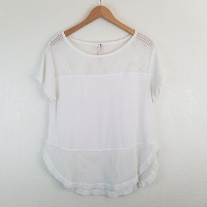 Free People | Movement White Mesh Short Sleeve Top